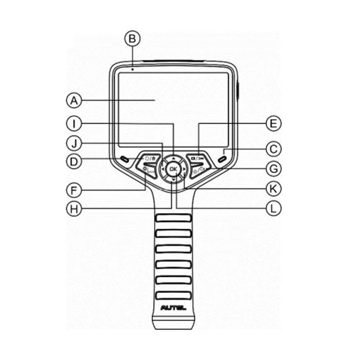 Các nút hướng dẫn chi tiết trên thiết bị:  A) Màn hình LCD.  B) Micro thu âm.  C) Đèn báo sạc (đèn vàng: là đang sạc; đèn xanh: là đã sạc xong)  D) Nút đảo ngược màn hình - ở chế độ xem khi nhấn nút này sẽ xóa các hình ảnh và video đã lưu; ở chế độ chụp ảnh/ quay phim thì nút này giúp chuyển các hướng nhìn.  E) Xem hình ảnh hoặc bật đèn flash - ở chế độ phát, cho phép mở lại các video và hình ảnh đã ghi lại; để mở đèn flash thì nhấn và giữ nút nhấn.  F) Nút cài đặt và trở lại - di chuyển đến màn hình cài đặt chính, quay lại màn hình đã xem, tùy chọn cài đặt hoặc chế độ phát, tạm dừng phát hình hoặc video hoặc thoát.  G) Nút camera/video – công tắc chuyển đổi giữa chế độ chụp hình và quay; nhấn và giữ nút để chuyển đổi giữa camera trước và bên hông.  H) Nút mũi tên đi xuống – dùng để thu nhỏ trong chế độ camera/ video và điều hướng.  I) Nút mũi tên đi lên – dùng để phóng to trong chế độ camera/ video và điều hướng.  J) Nút mũi tên bên trái – dùng để điều chỉnh giảm độ sáng đèn LED và trở lại video hoặc hình ảnh trước đó.  K) Nút mũi tên bên phải – dùng để điều chỉnh tăng độ sáng đèn LED và chuyển hình ảnh hoặc video kế tiếp.  L) Nút Ok – nhấn để xác nhận lựa chọn, đóng băng khung hình máy ảnh trong khi chụp ảnh, tiếp tục ghi âm.