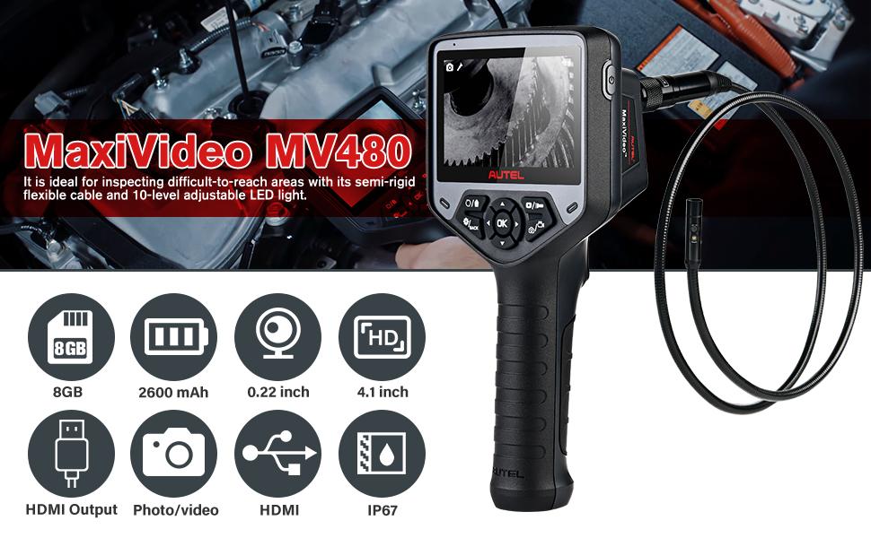 Camera kỹ thuật số - Máy nội soi hình ảnh thu phóng 7X là Camera kiểm tra Autel MaxiVideo phiên bản MV480, phạm vi video nội soi công nghiệp HD 1080P, thiết bị quay video có chú thích âm thanh, Camera kép, Xoay 360 °, có khả năng thu phóng 7X và Phiên bản nâng cấp từ phiên bản MV460  Mô tả vài chi tiết về Camera kỹ thuật số Autel MaxiVideo phiên bản MV480:  Autel MaxiVideo MV480 là thiết bị camera chẩn đoán nội soi công nghiệp thế hệ mới siêu nét Full HD hỗ trợ kiểm tra, quan sát những khu vực khó tiếp cận, những nơi hạn hẹp hoặc mắt người không thể nhìn thấy được. Autel MV480 được tích hợp dual cameras phía trước và bên cạnh với độ phân giải full HD 1920 x 1080pixel, màn hình LCD 4.1 inch độ phân giải 1200 x 720 pixel đầy đủ màu sắc, đầu dò camera kích thước 8.5mm, dung lượng pin 2600 mAh cho thời gian sử dụng liên tục đến 4 giờ,…
