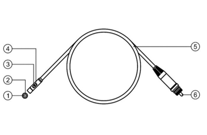 Cáp và đầu cáp Camera kỹ thuật số:  1) Đầu ghi hình phía trước.  2) Đèn LED phía trước.  3) Đầu ghi hình bên hông.  4) Đèn LED bên hông.  5) Thân cáp được thiết kế chống nước dày dặn để tránh tác động của môi trường làm ảnh hưởng đến kết nối trong lúc sử dụng máy  6) Đầu giắc.