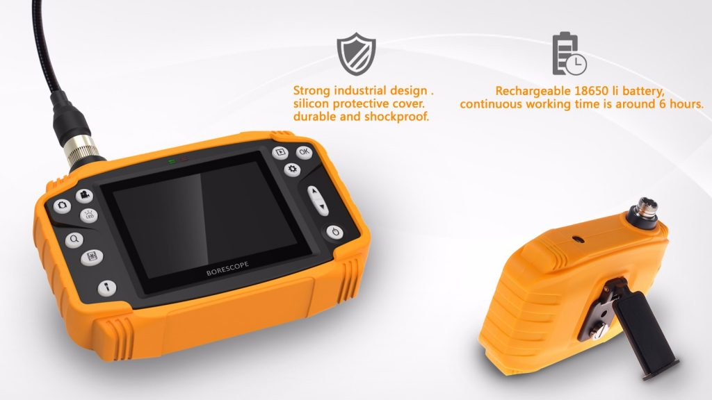Some basic features and outstanding features of Industrial quality borescope:  〈Power 2600mAh〉: Built-in 18650 lithium-ion battery, rechargeable, saves the cost of buying new batteries, and reduces the amount of waste left outside. And with up to 6 hours of battery life, there's no need to worry about interruptions in operation  〈Light Source〉: Equipped with 6 LED bulbs, helping us to illuminate during the examination or endoscopy in dark places, lack of light from the sun. Besides, we can arbitrarily adjust the light to suit very simple operations  〈Cable〉: Semi-rigid mode and moderate elasticity make the cable comfortable to go into tight places, the rope can be bent in many terrains without worrying about the inside of the wire is affected  The supporting cable in each device is different from 1m or 3m, depending on the needs of each customer that can change.  〈Waterproof ability〉: Waterproof, resistant to many kinds of extreme weather according to IP67 standards. Give us the freedom to explore comfortably in many different environments and areas  〈Image Resolution〉: For JPEG 1600x1200p image, AVI 640x480p video resolution and 180 degree rotation ability. It allows us to view the image from a variety of angles  〈Memory Card〉: Supports 16GB PAL TF card and you can use a 32GB card  〈Connections〉: USB2.0 / TV-out / TV output card slot and 4x zoom capability