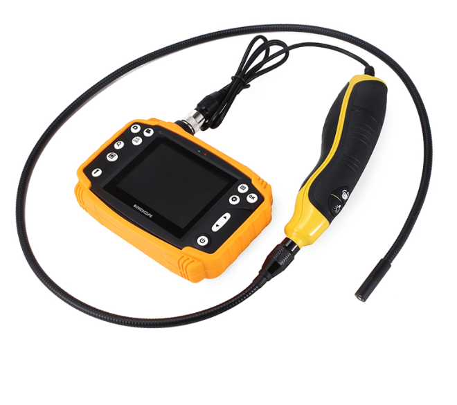 Industrial quality borescope with small diameter camera head at only 3.7mm and portable digital LCD screen 3.5 '' inch. With a high image resolution of 640x480pixel, versatile support accessories such as mirrors, hooks, ... The minimum camera cable is 1m or you can choose a wire with a length of 3m. And the focal length that can be obtained in each image or video is about 10-100mm  Describe some information of Industrial quality borescope:  This camera is an endoscopic video glass designed to be highly waterproof, challenging any environment, and durable with time. Technology is increasingly developing today, cameras have many control features that everyone can control because they are easy to use either right-handed or right-handed. The camera products are environmentally and user friendly  The camera head has a compact diameter and semi-rigid cable, has a certain elasticity so it can be moved to confined spaces, winding roads, rough and difficult to move, ... to explore the Darkest place, find places that man has never seen  The 3.5 '' color LCD screen is durable and beautiful under different weather, allowing you to view pictures or videos very conveniently, even under bright sunlight.  At the top of the camera of the endoscope, is equipped with a 6-ball LED array for you to freely adjust the light to match the place you need to check, the light is not too bright to obtain the image. , video as desired