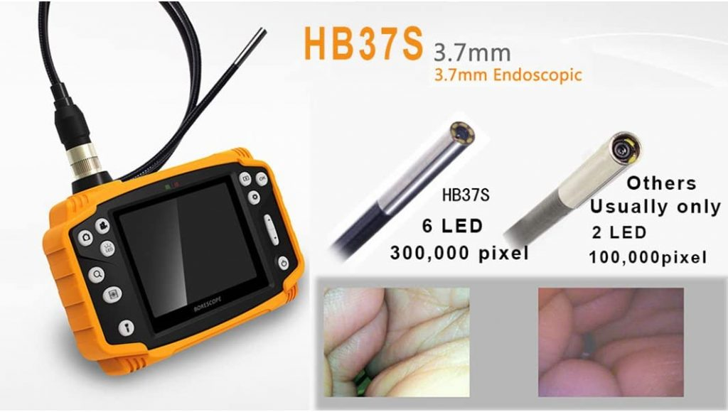 """Industrial quality borescope specifications:  Screen: 3.5 """"inch TFT LCD screen  Photo: JPEG (1600 * 1200p)  Video: AVI (640 * 480p)  Function: Image ZOOM / Rotation & Mirror / Freeze the frame  Diverse languages: Chinese, English, French, German, Spanish, Japanese, Russian  Memory: Micro SD card (up to 32GB)  USB: USB 2.0 USB disk  TV-out: PAL  Source: Li-lon battery (2600mAh) 6 hours battery life, 18650pin lithium-lion  Diameter of camera head: 3.7mm, giving you the freedom to explore many places  Camera resolution: 300,000 pixels  Field of view: 90 °  Depth of field: 10-100mm  Camera light: 6 white LEDs  Probe length: 1 meter or if you want to use in deeper places we can use 3m cord  Transducer material: soft malleable metal  4 × Changeable Digital Zoom Interface: USB2.0 / TV-Out / Head Card Slot  The base is stretchable and the protective case is yellow  Waterproof rating: IP67"""