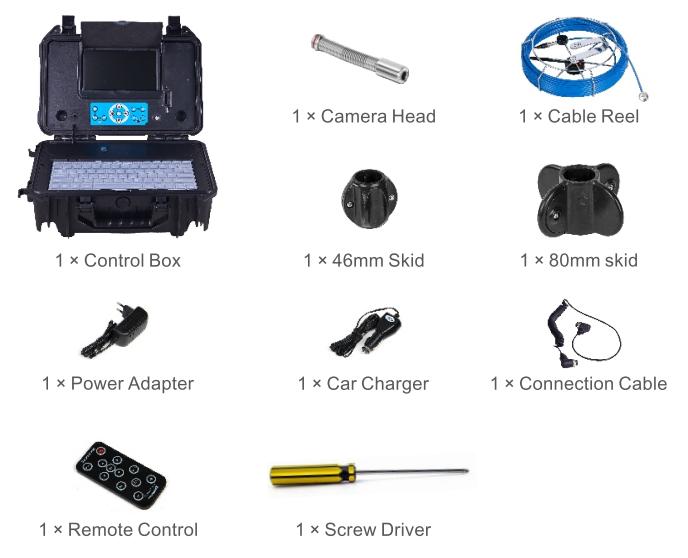 Bộ sản phẩm thiết bị máy nội soi công nghiệp bao gồm những gì? - Đầu máy ảnh 1 x 23mm - Bánh xe cáp 1 x 20/30/40m - 1 bộ pin - 1 x điều khiển từ xa - 1 x tua vít - 1 x bộ đổi nguồn - 1 x bộ sạc ô tô - 1 x hộp đựng đồ chống nước có gắn màn hình