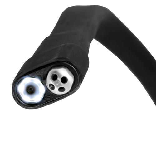 Nơi bán Endoscope Series PCE-VE 250 có đặc điểm gì và tính năng hoạt động ra sao? - Điểm yếu ở thiết bị này có dây cáp chỉ dài khoảng 90cm ( 2ft - 11''inch) nhưng dây cáp lại có độ bán cứng và độ đàn hồi vừa hồi thích hợp đi qua các khe hở nhỏ, các khúc uốn cong,... giúp ta thu được kết quả ngoài mong đợi. Và ở đầu dò camera được tích hợp vòi phun làm sạch mọi thứ bằng khí nén thông qua bộ phận kích hoạt Để tắt hay mở van khi ta sử dụng hay dừng lại được cài đặt trên thân máy, ngay tay cầm để cho tiện việc điều khiển. Bằng cách lật van là ta có thể tắt mở thiết bị Dây cáp được trang bị với vỏ bên ngoài bằng cao su bán mềm, chống thấm nước, bụi bặm, các chất bán bẩn,.... - Tất cả các hình ảnh hay video trong quá trình ta kiểm tra đều được lưu trữ trên thẻ nhớ Micro SD với dung lượng 4GB. Thẻ nhớ có sẵn trong bộ sản phẩm. Với dung lượng lưu trữ hơi nhỏ nên ta cần xóa bỏ hay di dời các hình ảnh, video qua các thiết bị số khác để giải phóng được dung lượng trên thẻ nhớ Việc sử dụng bằng khí nén, cho nên ta cần kết nối với ống dẫn. Áp suất kết nối sản phẩm từ 6-8 bar, đáp ứng được việc sử dụng khí nén để làm sạch. USB hỗ trợ quá trình sạc cho ống nội soi và điều đặc biệt khác là ta có thể sạc ngay trên ô tô, khi đang di chuyển trên đường khi thiết bị gần hết pin Với pin có thể sạc lại và thời gian sử dụng khi đã được sạc đầy là bốn giờ, thì ta không cần quá lo lắng - Đầu camera được trang bị hệ thống chiếu sáng với 6 bóng đèn LED có thể tùy chỉnh sao cho phù hợp với nơi mà bạn kiểm tra để không bị quá sáng chói, kết quả thu được không như mong muốn. Còn đối với dây cáp nội soi có đường kính là khoảng 4.5mm - 0.18''inch, đường kính đầu camera khoảng 8.5mm cho có thêm vòi phun làm sạch bằng khí nén - Màn hình hiển thị: Với kích thước 3.5''inch TFT LCD cho bạn màu sắc vô cùng sống động, sắc nét. Bên cạnh đó, ta còn được trang bị chức năng xoay hình ảnh và phản chiếu 360 độ. Ta có thể đóng băng hình ảnh ngay trên quá trình quay video diễn ra, tiết kiệm được thời gian quay lạ
